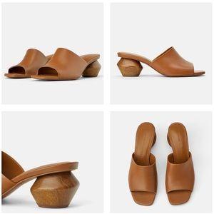 Zara Cognac Leather Mules Geometric Wood Heel 8